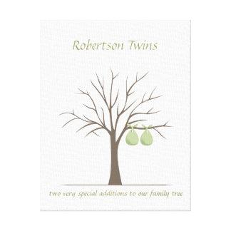 Baby Fingerprint Tree – Twins Canvas Print