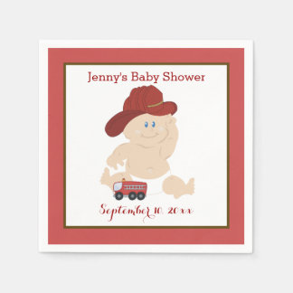 Baby Firefighter Customized Napkins Paper Napkins