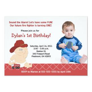 Baby Firefighter Photo Birthday Invitation Any age