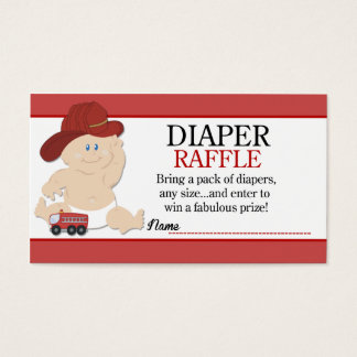 Baby Fireman Firefighter Baby Shower Diaper Raffle Business Card