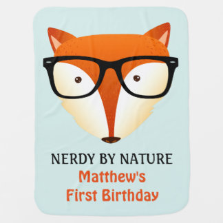 Baby First Birthday Cute and Funny Nerd Fox Stroller Blankets