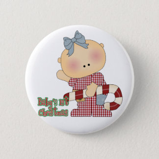 baby first christmas baby girl 2 inch round button