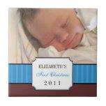 Baby first christmas blue ribbon stripe keepsake ceramic tiles