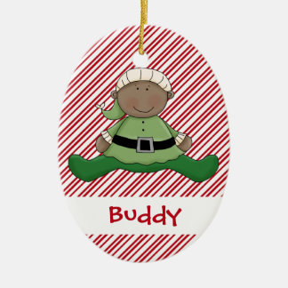 Baby First Christmas Elf Suit Ceramic Ornament