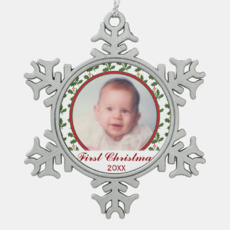Baby First Christmas Holiday Photo Ornament