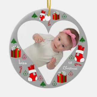 Baby First Christmas Insert Photo Ornament Heart