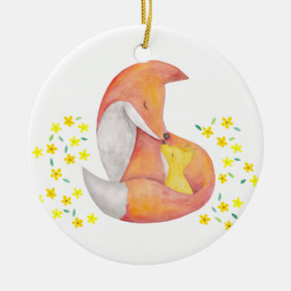 Baby First Christmas Personalized Ornament Fox Art