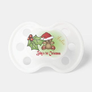 Baby First Christmas - Teddy Bear Baby Pacifiers