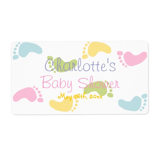 Baby Foot Print Baby Shower Water Bottle Labels