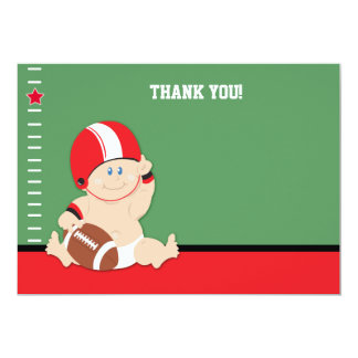 """Baby Football Player (Red/Black) Flat Thank you 5"""" X 7"""" Invitation Card"""
