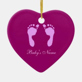 Baby Footprints (Girl) (Doorhanger) Ceramic Heart Ornament