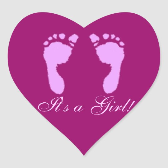 Baby Footprints (Girl) Heart Sticker