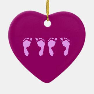 Baby Footprints (Girl Twins) Ceramic Ornament