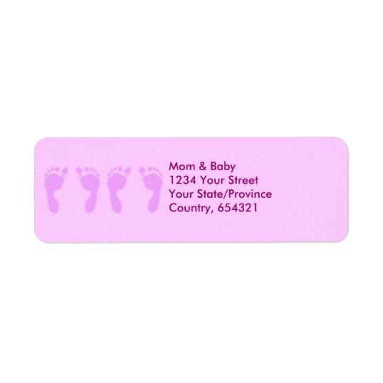 Baby Footprints (Girl Twins) Return Address Label
