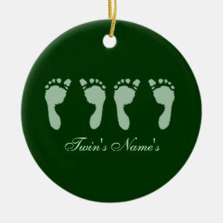 Baby Footprints (Green Twins) (Doorhanger) Ceramic Ornament