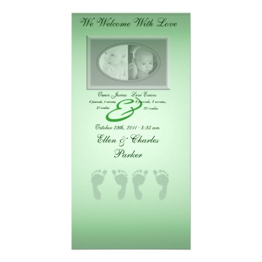 Baby Footprints (Green Twins) Photo Card Template