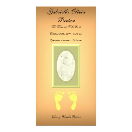 Baby Footprints (Yellow) Picture Card