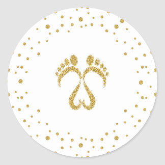 Baby footsteps classic round sticker