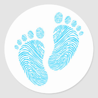 Baby footsteps classic round sticker