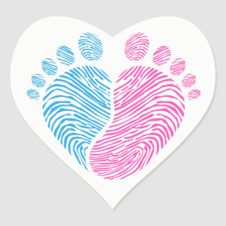 Baby footsteps heart sticker