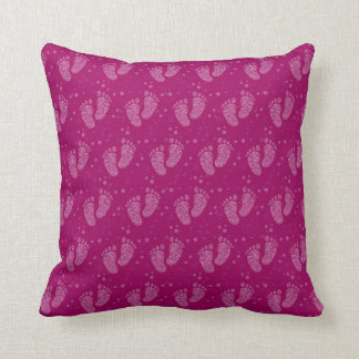 Baby footsteps pattern throw pillow