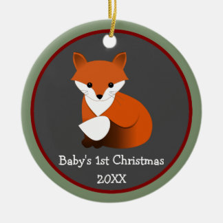 Baby Fox 1st Christmas Photo Frame Round Ceramic Ornament