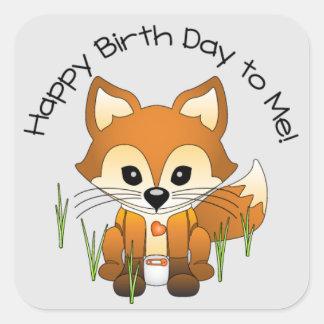 Baby Fox Birth Day Announcement Sticker