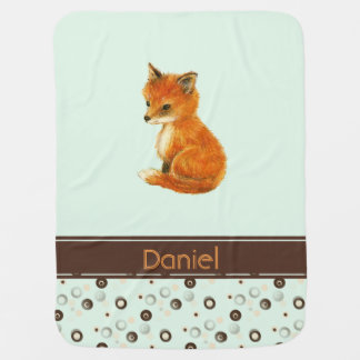 Baby Fox Dots Personalized Green Baby Blanket