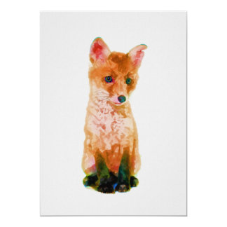 Baby Fox Nursery Print on 5x7 Cardstock Card