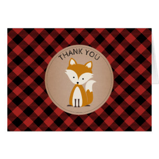Baby Fox Plaid Baby Shower Thank You - Blue Card
