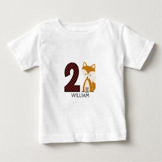 Baby Fox Plaid Second Birthday Shirt