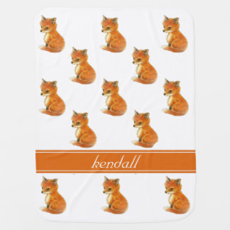 Baby Fox Vintage Personalized Baby Blanket