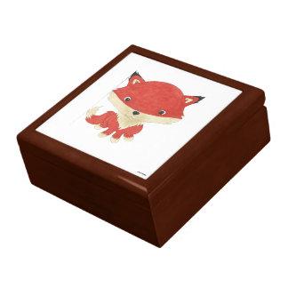 Baby Fox Wooden Oak Keepsake Box
