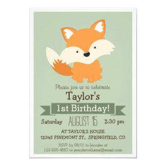 "Baby Fox, Woodland Animal Kid's Birthday Party 5"" X 7"" Invitation Card"