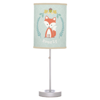 Baby Fox Wreath Personalized Lamp - Girl