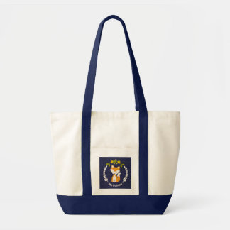 Baby Fox Wreath Personalized Tote Bag