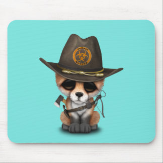 Baby Fox Zombie Hunter Mouse Pad