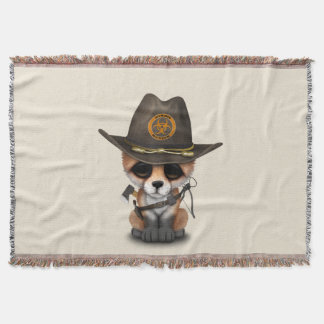 Baby Fox Zombie Hunter Throw Blanket