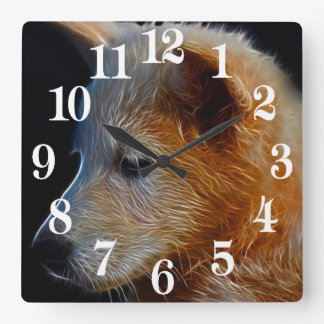 Baby fractal wolf cub square wall clock