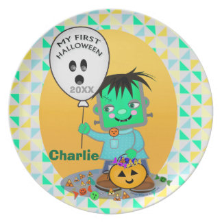 Baby Frankenstien First Halloween Plate