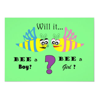 Baby Gender Reveal Party Invitation, Bees Card