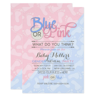 "Baby Gender Reveal Party Pink Blue Footprint 5"" X 7"" Invitation Card"