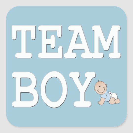 Baby Gender Reveal Party Sticker, Team Boy Square Sticker