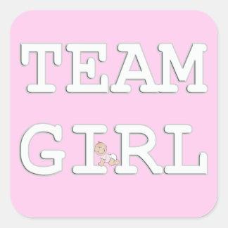Baby Gender Reveal Party Sticker, Team Girl Square Sticker