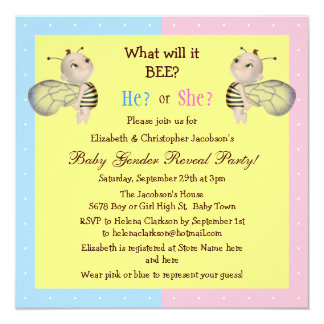 Baby Gender Reveal What Will it BEE? Honey Bees 5.25x5.25 Square Paper Invitation Card