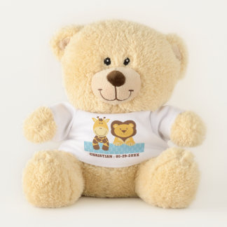 Baby Giraffe and Lion With Custom Name and Date Teddy Bear