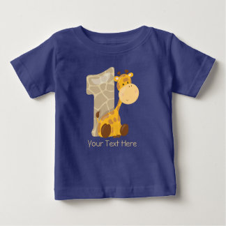Baby Giraffe and Number One | Personalized Baby T-Shirt