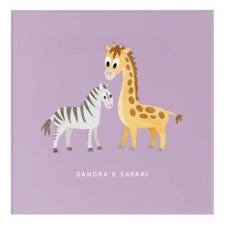 Baby Giraffe and Zebra Custom Color and Text Acrylic Print