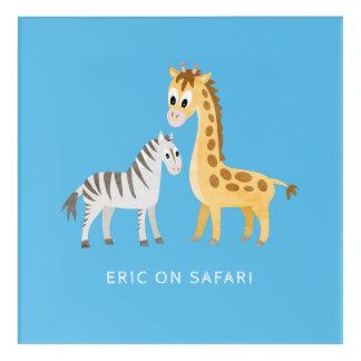 Baby Giraffe and Zebra Custom Color and Text Acrylic Wall Art