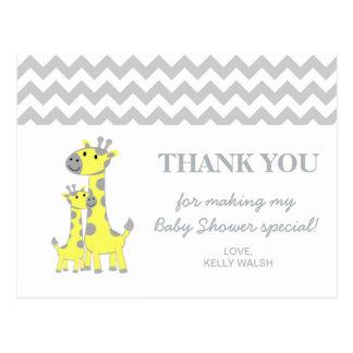 Baby Giraffe Baby Shower Thank You Note Chevron Postcard